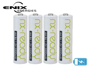 4 Accumulateurs Ni-MH AA LR6 NX Ready 2000mAh