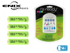 Kit NX Ready 4 Accumulateurs Ni-MH AA + Chargeur Ni-MH International