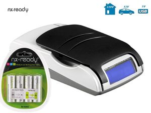 Chargeur NiMH NX-READY digital + 4 accumulateurs AA NiMH (LR6)